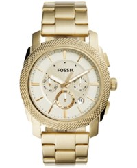 Fossil Men's Chronograph Machine Gold Tone Stainless Steel Bracelet Watch 45Mm Fs5193 All Gold Bracelet And Dial