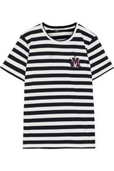 Maje Woman Tamino Embroidered Striped Stretch Cotton Jersey T Shirt Black