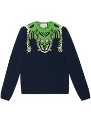 Gucci Wool Sweater With Tiger Men Wool L Blue