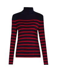 Equipment Wilder Roll Neck Silk And Cashmere Blend Sweater Navy Multi