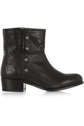 Frye Lynn Military Studded Leather Ankle Boots Black