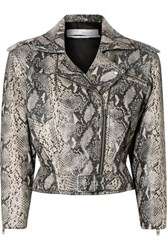 Iro Perrio Cropped Snake Effect Leather Biker Jacket Snake Print