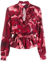 Stella Jean Floral Ruffle Blouse Red