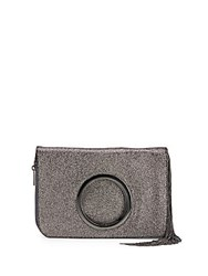 Halston Leather Foldover Clutch Gunmetal