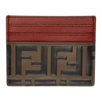 Fendi Red And Brown Forever Card Holder