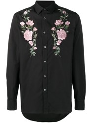 Alexander Mcqueen Embroidered Roses Shirt Black