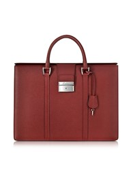 Pineider City Chic Embossed Leather Briefcase Burgundy