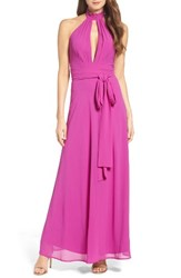 Lulus Women's Ruffle Neck Halter Gown Passion