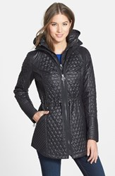 Women's Laundry By Shelli Segal Quilted Jacket With Hooded Inset Black