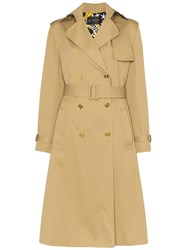 Versace Double Breasted Belted Trench Coat Neutrals
