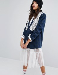 Style Nanda Stylenanda Blazer With Lace Overlay In Check Blue