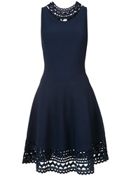 Milly Flared Cut Out Dress Women Polyester Viscose L Blue