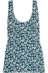 Equipment Kaylen Printed Washed Silk Tank Blue