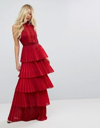 Body Frock Bodyfrock Tiered Pleated Maxi Dress With Lace Bodice And Tie Belt