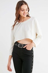 Truly Madly Deeply Roxy Cropped Pullover Tee White
