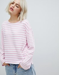 Pepe Jeans Morgan Stripe Long Sleeved T Pink