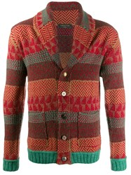 Gabriele Pasini Knitted Striped Cardigan Red