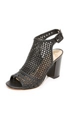 Sam Edelman Evie Woven Peep Toe Booties Black