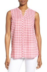 Foxcroft Women's Gingham Sleeveless Shirt Hibiscus
