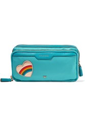Anya Hindmarch Small Appliqued Shell Cosmetics Case Turquoise