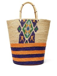 Sensi Studio Woven Straw Tote Bag Beige Multi