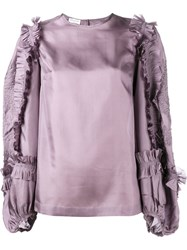 Dries Van Noten Coote Ruffle Blouse Pink And Purple