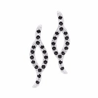 Sarah Kosta Bali Silver Earrings With Black Spinel