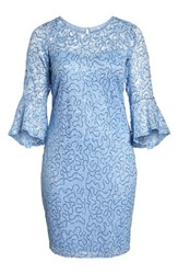 Marina Plus Size Sequin Lace Bell Sleeve Dress Blue