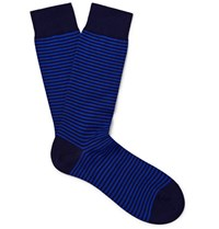 Pantherella Striped Cotton Blend Socks Navy