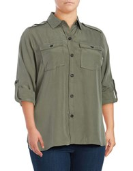 Lord And Taylor Plus Solid Button Down Linen Shirt Green