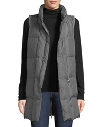 Lafayette 148 New York Quilted Puffer Down Vest W Back Zip Rock