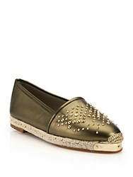 Giuseppe Zanotti Studded Metallic Leather Espadrille Flats Bronze