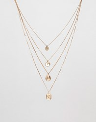 Missguided Layered Coin Necklace In Gold