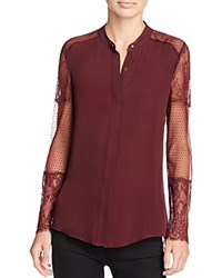 Chelsea And Walker Lace Sleeve Blouse Burgundy