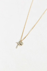 Urban Outfitters Cross Circle Charm Necklace Gold