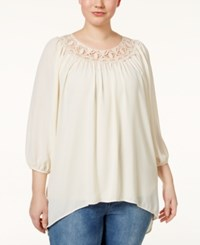 Eyeshadow Plus Size Crochet Trim Scoop Neck Blouse Daisy