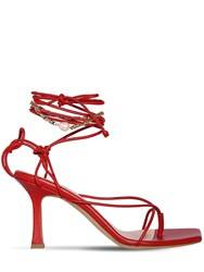 Magda Butrym 80Mm Sweden Leather Lace Up Thong Sandal Red