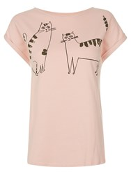 People Tree Happy Cats Tee Pink