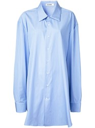 Jil Sander Oversized Striped Shirt Women Cotton One Size Blue