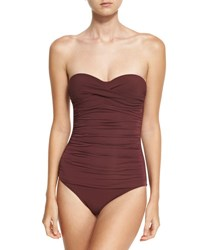 Heidi Klein Body Ruched Control Bandeau One Piece Swimsuit Purple