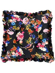 Preen By Thornton Bregazzi Floral Skull Quilted Cushion Black