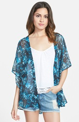 Sun Shadow Sheer Kimono Juniors Grey Meteor Brushed Floral