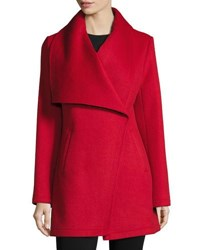 Laundry By Shelli Segal Double Face Wool Blend Coat Red