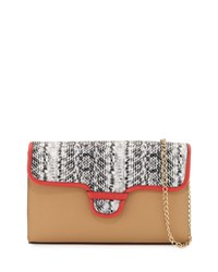 Neiman Marcus Rory Snake Embossed And Colorblock Clutch Bag Beige