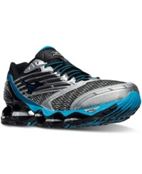 Mizuno Men's Wave Prophecy 5 Running Sneakers From Finish Line Gunmetal Atomic Blue Blac