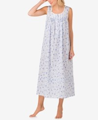 Eileen West Lace Trimmed Printed Cotton Ballet Length Nightgown Blue Floral