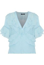 Love Sam Lattice Trimmed Ruffled Voile Top Sky Blue