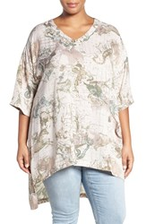 Melissa Mccarthy Seven7 Plus Size Women's Print One Pocket V Neck Tee Egret