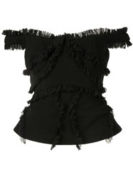 Rachel Gilbert Kiki Ruffle Trimmed Top Black