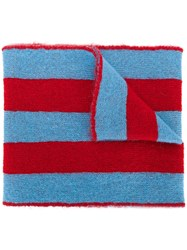 Msgm Star Embroidered Scarf Acrylic Polyamide Mohair Blue
